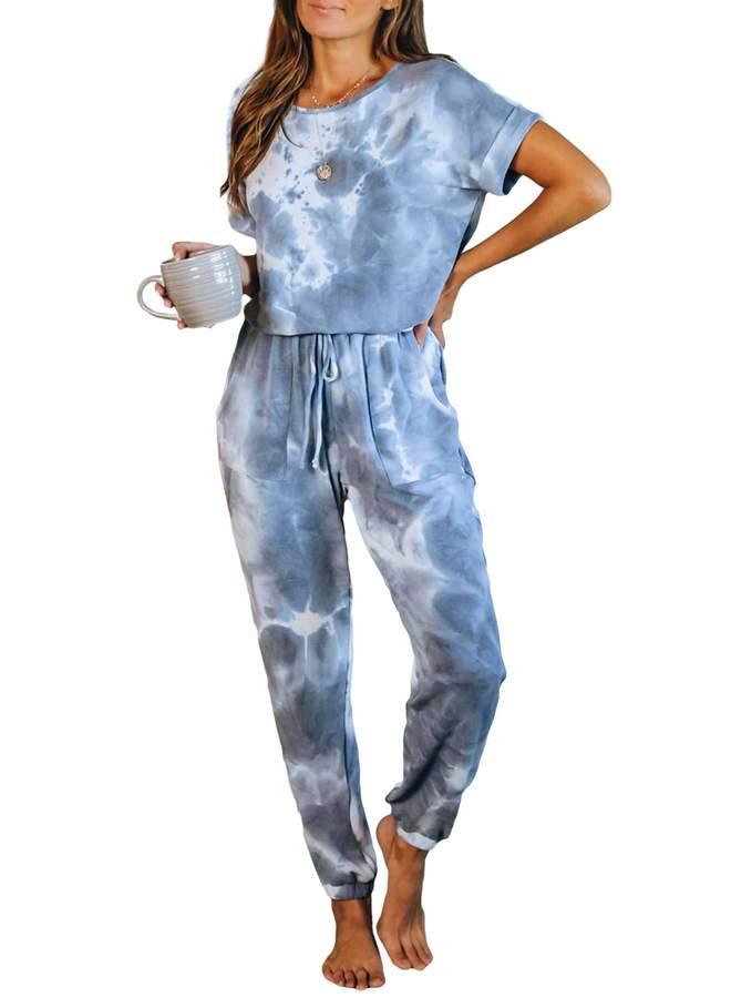 bdcoco-womens-tie-dye-printed-pajamas-one-piece-short-sleeve-jumpsuits-loungewear-pjs-nightwear-with-pockets